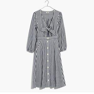Shimmer Stripe Cutout Midi Dress
